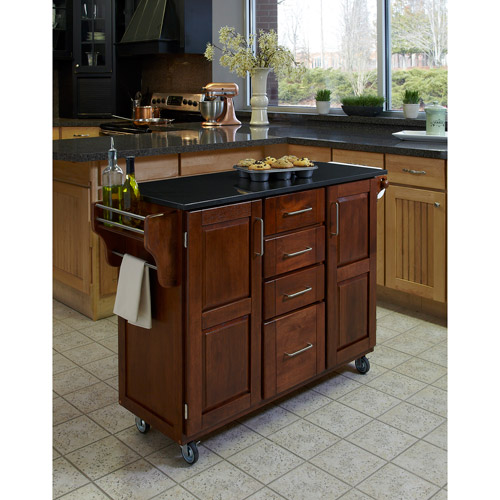 Home Styles Large Kitchen Cart, Cottage Oak / Black Granite Top