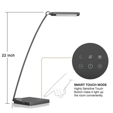 Oak Leaf 22  10W Dimmable 5 Dimming Levels Led Desk Lamp With 5V 1A Usb Charging Port  Smart Touch Table Lamp For Bedroom Study Office Home With Eye Caring Panel  3 Lighting Modes