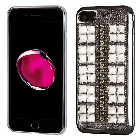 For iPhone 7 / 8 Plus Square Crystals Rhinestones Desire Candy Skin Shell