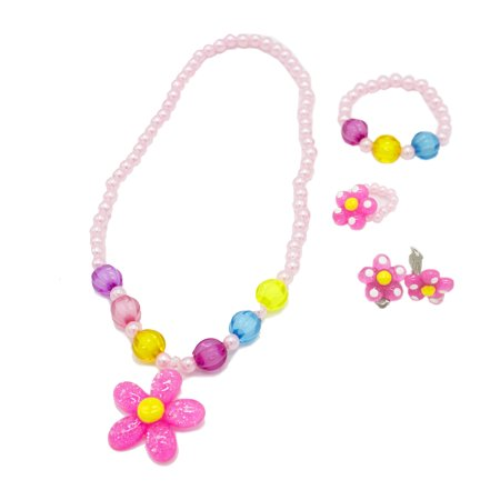 StylesILove 5 pcs Sun Flower Girl Princess Jewelry Set (Pink Necklace Set)