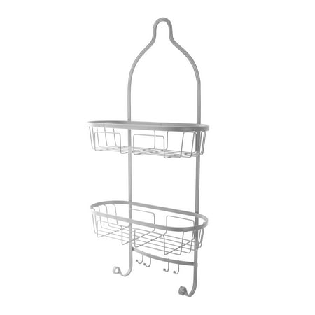 Splash Home Maya Shower Caddy Bathroom Hanging Head Two Basket Organizers With Hooks for Shampoo, Conditioner and Soap- Chrome