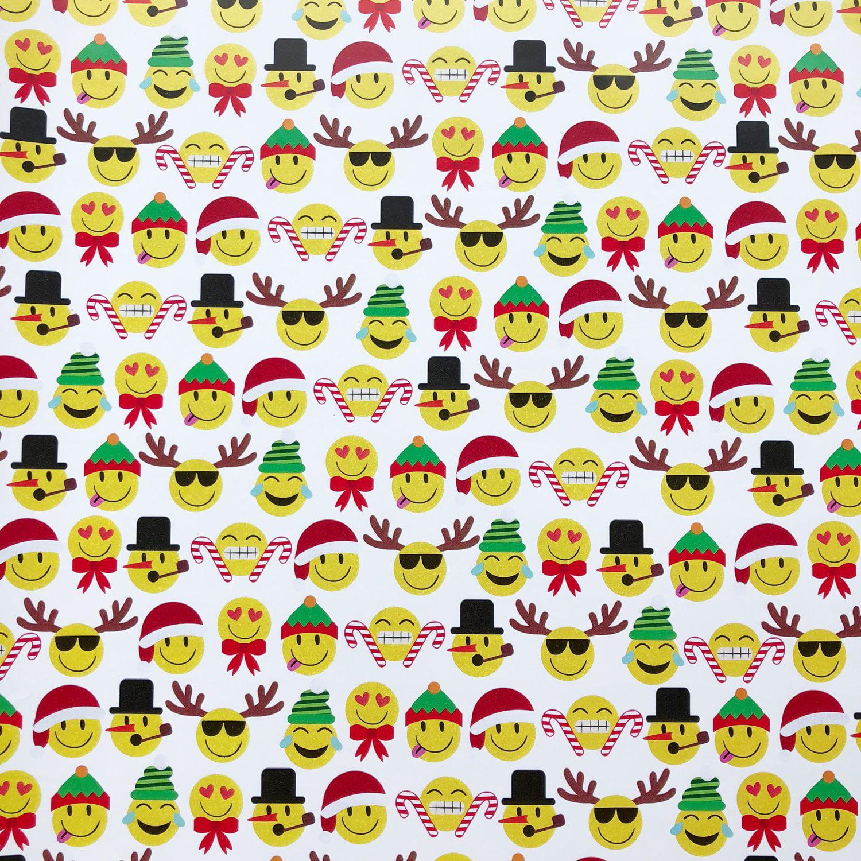 "Jillson & Roberts Bulk Gift Wrap, Emoji Christmas, 1/4 Ream 208' x 30"""