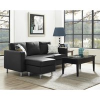 Dorel Living Small Spaces Configurable Sectional Sofa, Black