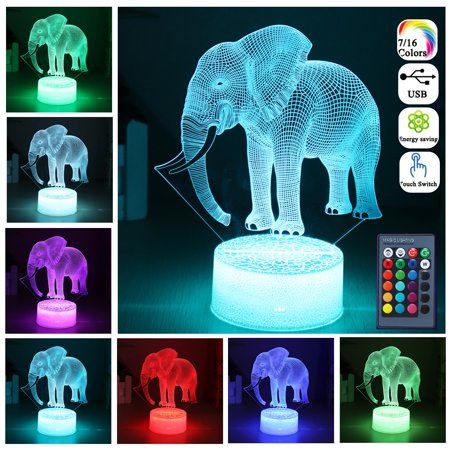 Elephant 3D LED Night Light 16 Color RGB Remote Control Touch Switch Lamp Gifts