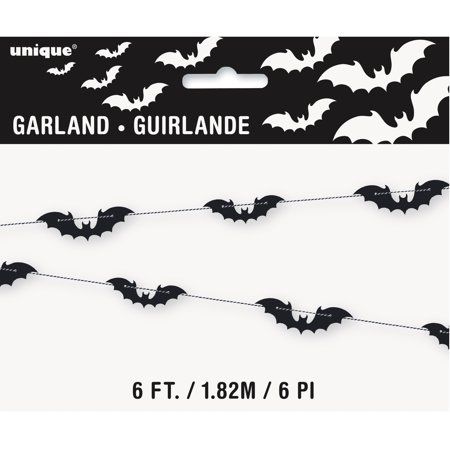 Black Bats Halloween Garland, 6 ft, 1ct for $<!---->