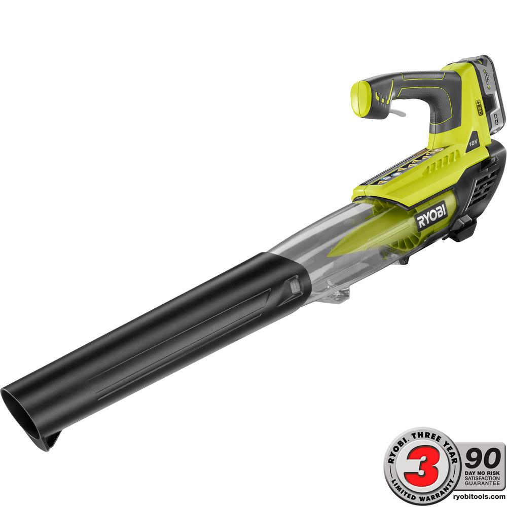 Ryobi ONE+ 100 MPH 280 CFM Variable-Speed 18-Volt Lithium-Ion Cordless Jet Fan Leaf Blower 4Ah Battery and Charger Included P2180