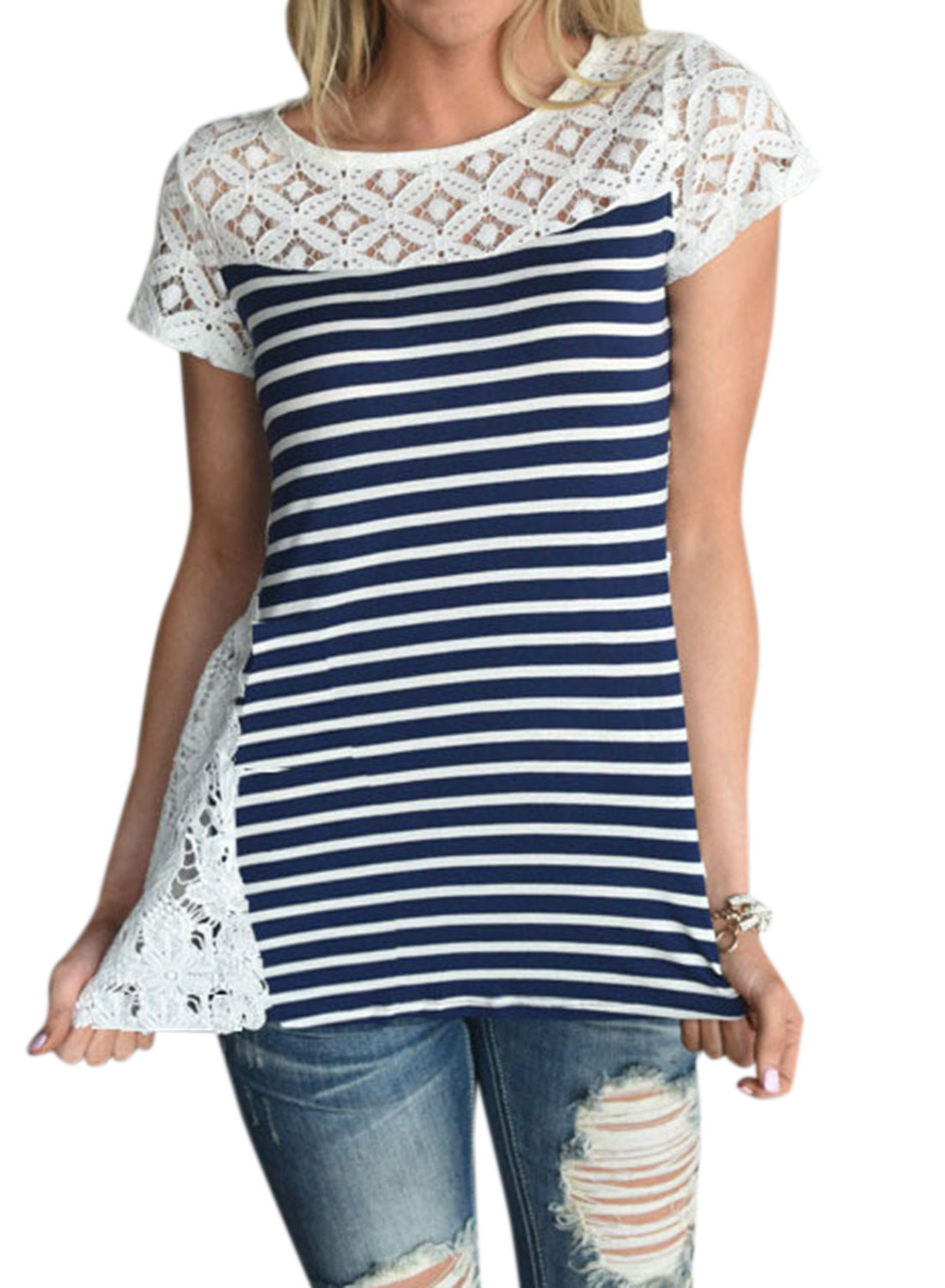 WLLW Women Round Neck Lace Splice Stripe Short Sleeve Shirt Tops Tee by