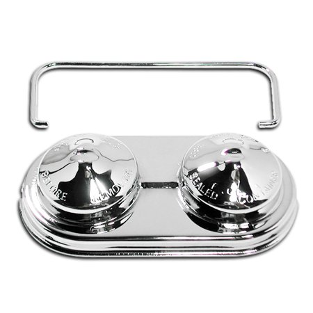 Fits Chevy GM Oval Steel Master Cylinder Cover (Single Bail) Chrome Waterfall Oval Cylinder