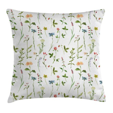 - Floral Throw Pillow Cushion Cover, Spring Season Themed Watercolors Painting of Herbs Flowers Botanical Garden Artwork, Decorative Square Accent Pillow Case, 18 X 18 Inches, Multicolor, by Ambesonne