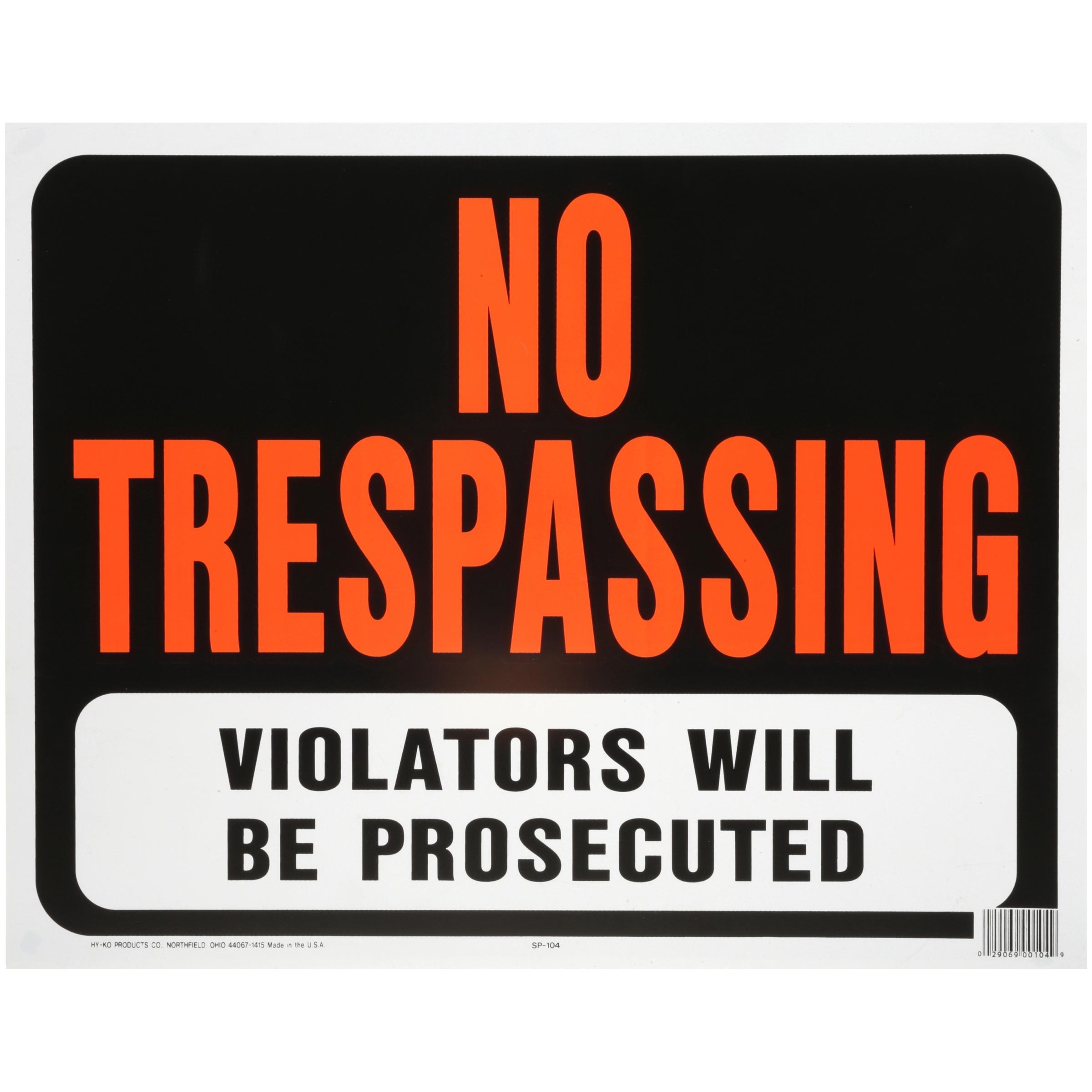 """Hy-Ko 15"""" x 19"""" No Trespassing Sign"""