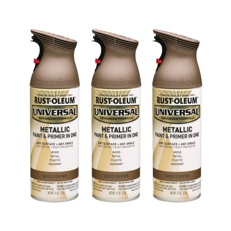 (3 Pack) Rust-Oleum Universal All Surface Metallic Aged Copper Spray Paint and Primer in 1, 11 oz Aged Golden Copper Finish