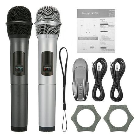 2 Pack Wireless Microphone Set, ELEGIANT K18U 10 Channel Wireless Microphones, UHF Handheld HiFi Karaoke Receiver, Dynamic Microphones for Wedding Speech Conference Karaoke (Wireless Handheld Color Monitor)