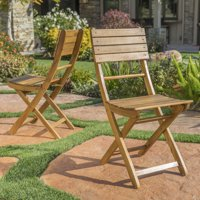 Bristle Outdoor Acacia Wood Foldable Dining Chairs, Set of 2, Natural Finish