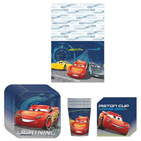 Disney Cars 3 Lighning McQueen Birthday Party Supplies Bundle Kit Including Plates, Cups, Napkins and Table cover - 8 Guests