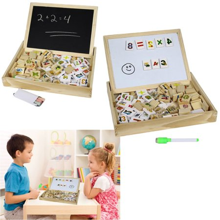Wooden Alphabet Number Blocks With Case Magnetic White Board and Black Board](Magnetic Alphabet)