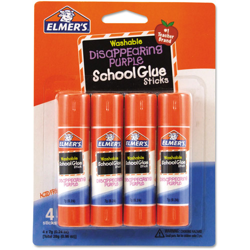 Elmer's Washable School Glue Sticks, Disappearing Purple, 4-Pack