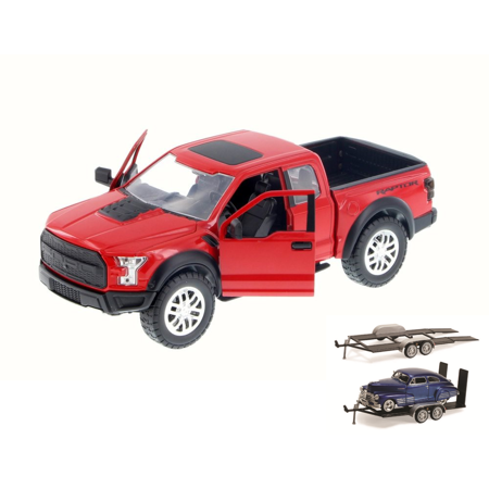 Diecast Car & Trailer Package - 2017 Ford F-150 Raptor Pickup, Red - Jada 98586DP1 - 1/24 Scale Diecast Model Toy Car w/Trailer - 2017 Halloween Trailer