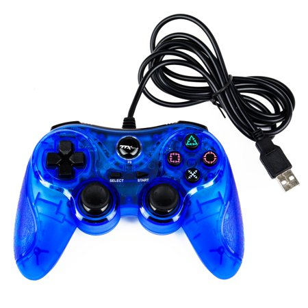 2-Pack TTX Tech Analog Wired USB Controller for Sony PS3 PlayStation 3 / Computer PC Game - Clear Blue Pc Game Controller Software