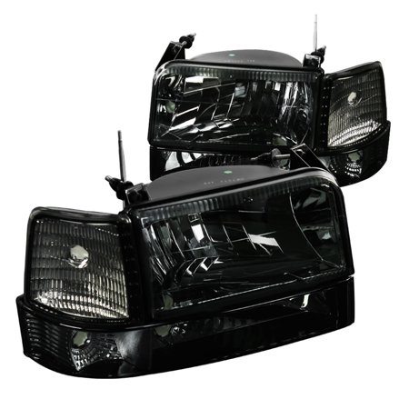 Spec-D Tuning For 1992-1996 Ford F150 F250 F350 Bronco Smoke Headlights Tinted Bumper Lights Corner Lamps (Left+Right) 1992 1993 1994 1995