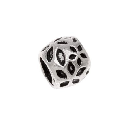Sterling Silver Embossed Daisy Bead - European Style Large Hole - 9x7mm