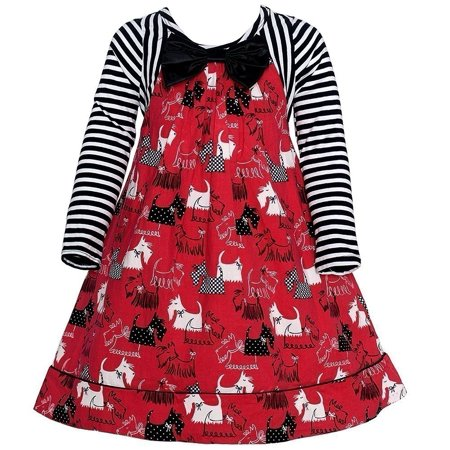 Bonnie Jean Little Girls Red Striped Scotty Dog Printed
