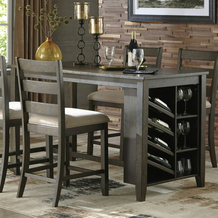 signature design by ashley rokane counter height dining table with storage. Black Bedroom Furniture Sets. Home Design Ideas