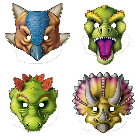 Club Pack of 12 Assorted Halloween and Costume Dinosaur Masks for Ages 3 and up 11.5