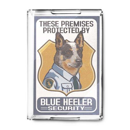 Blue Heeler Security - Dog Sign - Lantern Press Artwork (Acrylic Serving  Tray)