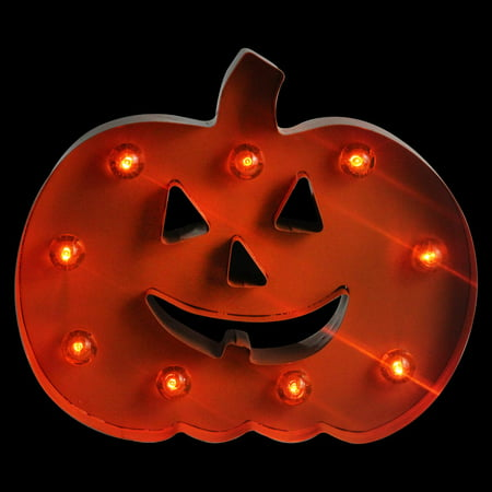 10 led lighted orange marquee pumpkin halloween decoration orange lights