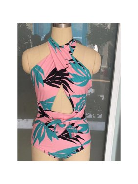Women Printed Halter Style One Piece Swimwear