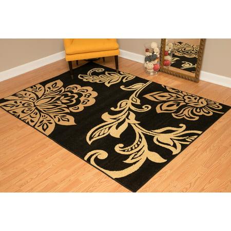 - Designer Home Cowboy Area Rugs - 851-10826 Contemporary Beige Vines Leaves Stems Petals Rug