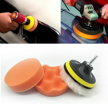 Car Polisher Pad Buffer Gross Polish Polishing Kit Set Drill (Minidisc Polisher Kit)