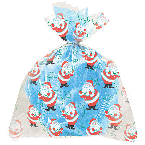 Large Santa Claus Holiday Cello Bags, 12-Count