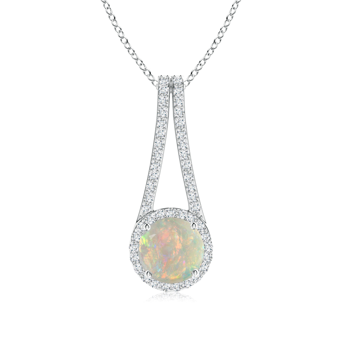 Mother's Day Jewelry Necklace Long V Bale Cabochon Opal and Diamond Halo Pendant in 950 Platinum (8mm Opal)... by Angara.com
