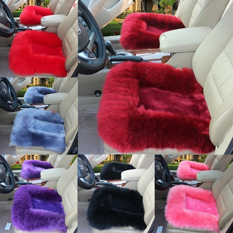 Hot New Universal Wool Soft Warm Fuzzy Auto Car Seat Covers Front Rear Cover Car Cushion Covers Pink/Black/Gray Blue/Red/Purple/Pale Mauve/Wine Red/Beige