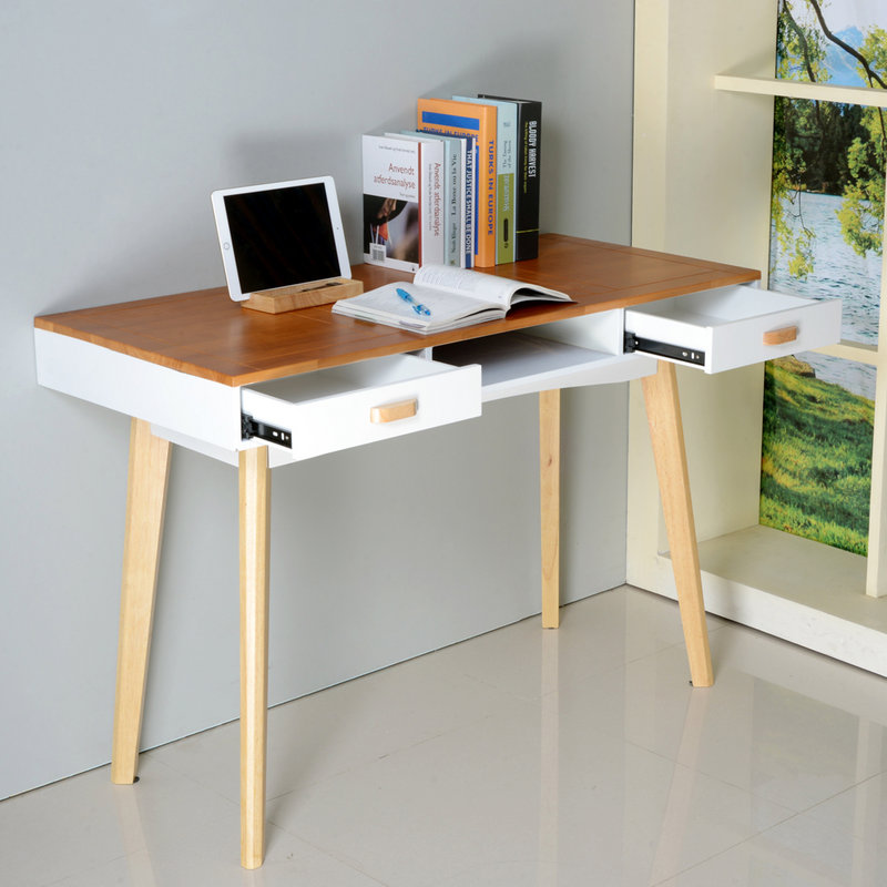 Organizedlife Modern Simple Style Computer Desk Solid Wood Home Office Desk PC Laptop Study Table with Drawers Workstation for Home and Office