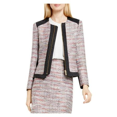 Vince Camuto Womens Front Zip Contrast Trim Tweed Jacket Pink 10