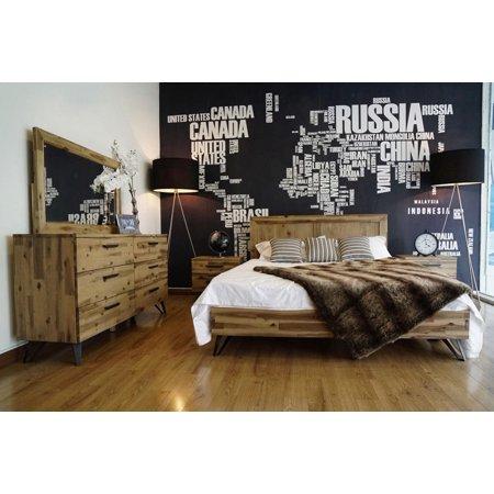 Modern Metal Brushed Light Wood Queen Size Bedroom Set 5Pcs VIG Modrest Sala ()