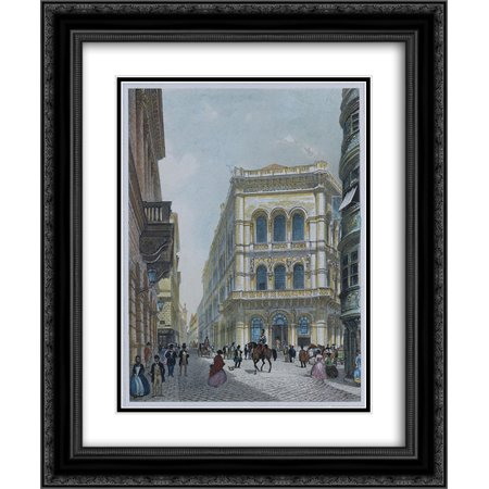Rudolf Von Alt 2X Matted 20X24 Black Ornate Framed Art Print The Banking And Stock Exchange Building In The Lord  Vienna