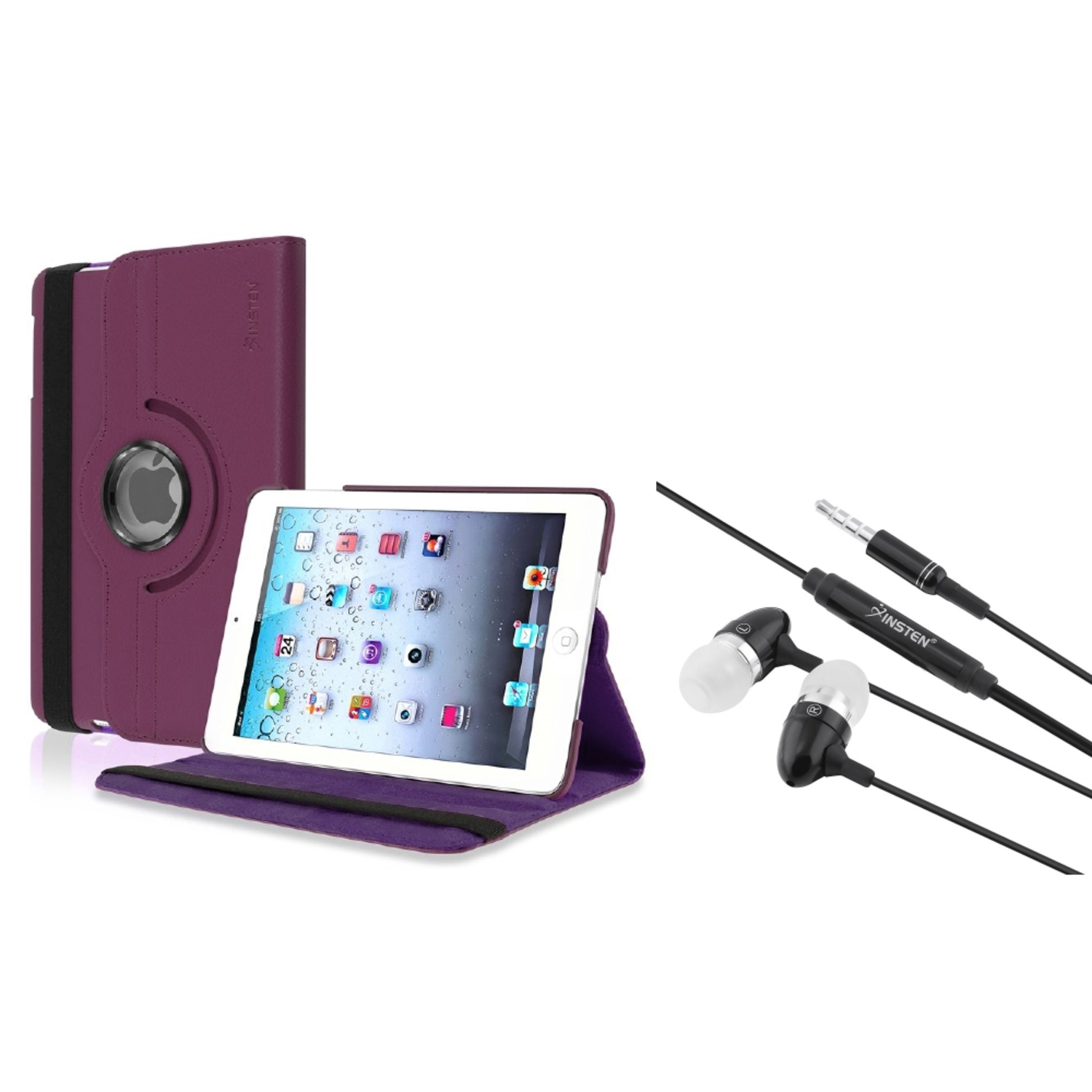 iPad Mini 3/2/1 Case, by Insten Purple Leather Stand Case +3.5mm Headset...