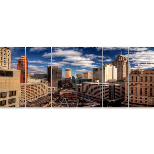 Design Art 'Amazing Urban City with Skyline' 6 Piece Photographic Print on Wrapped Canvas Set
