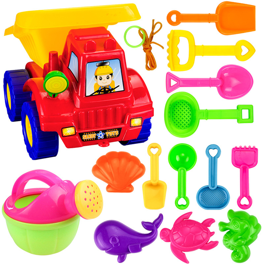 14 Pcs Children Summer Beach Toys Plastic Shovel Toy Sand Mold Hourglass Set Play Sand Toy Gift for Boys and Girls by