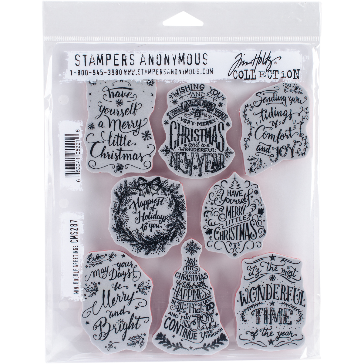 """Tim Holtz Cling Stamps 7""""X8.5"""" Doodle Greetings"""