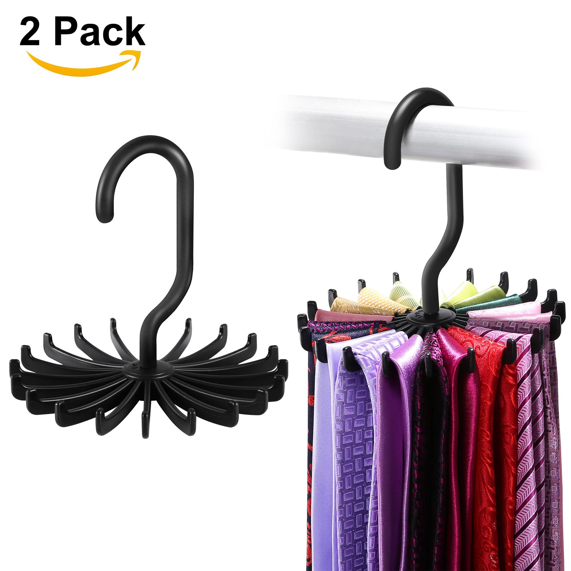 "Tie Hangers for Closets, IPOW 2 Pack Adjustable Rotating 20 Hook Neck Ties Organizer Twirling Tie Rack Hanger Holder, Black, 4.85"""