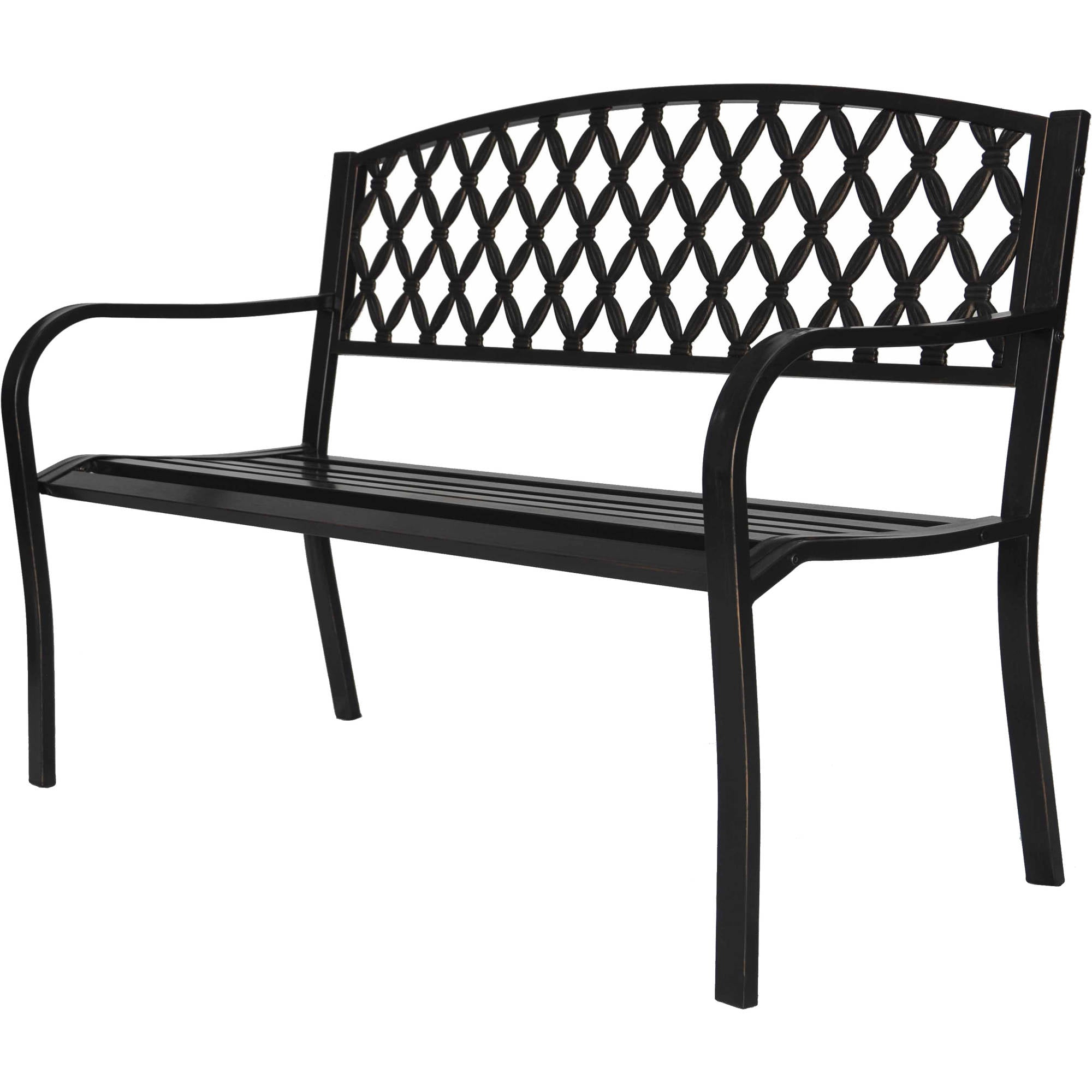 outdoor park bench 4 ft. metal - walmart