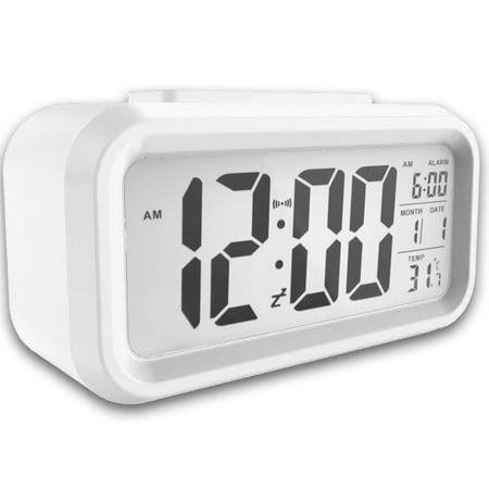 EEEKit Digital Table Alarm Clock, Electronic LED Snooze Desk Clock Backlight Time Calendar Thermometer Temperature