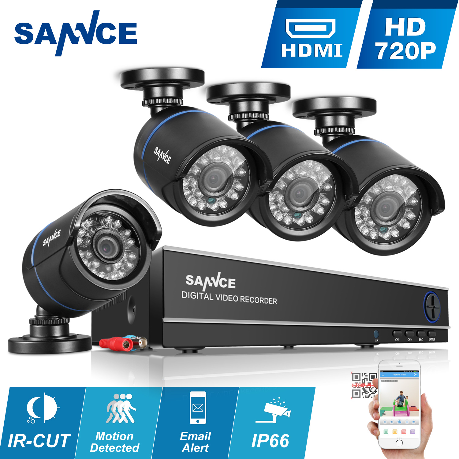 SANNCE 8CH 1080N AHD DVR 4pcs 720P IR outdoor CCTV Home Security System Cameras Surveillance Video kits