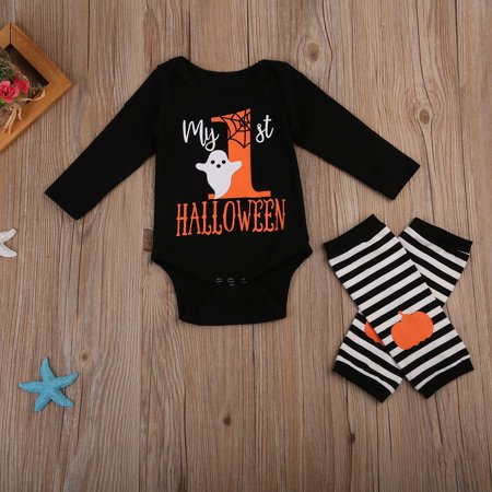 My 1st Halloween Newborn Baby Boy Girl Romper Bodysuit+Leg Wamers Outfits Set - Babys First Halloween