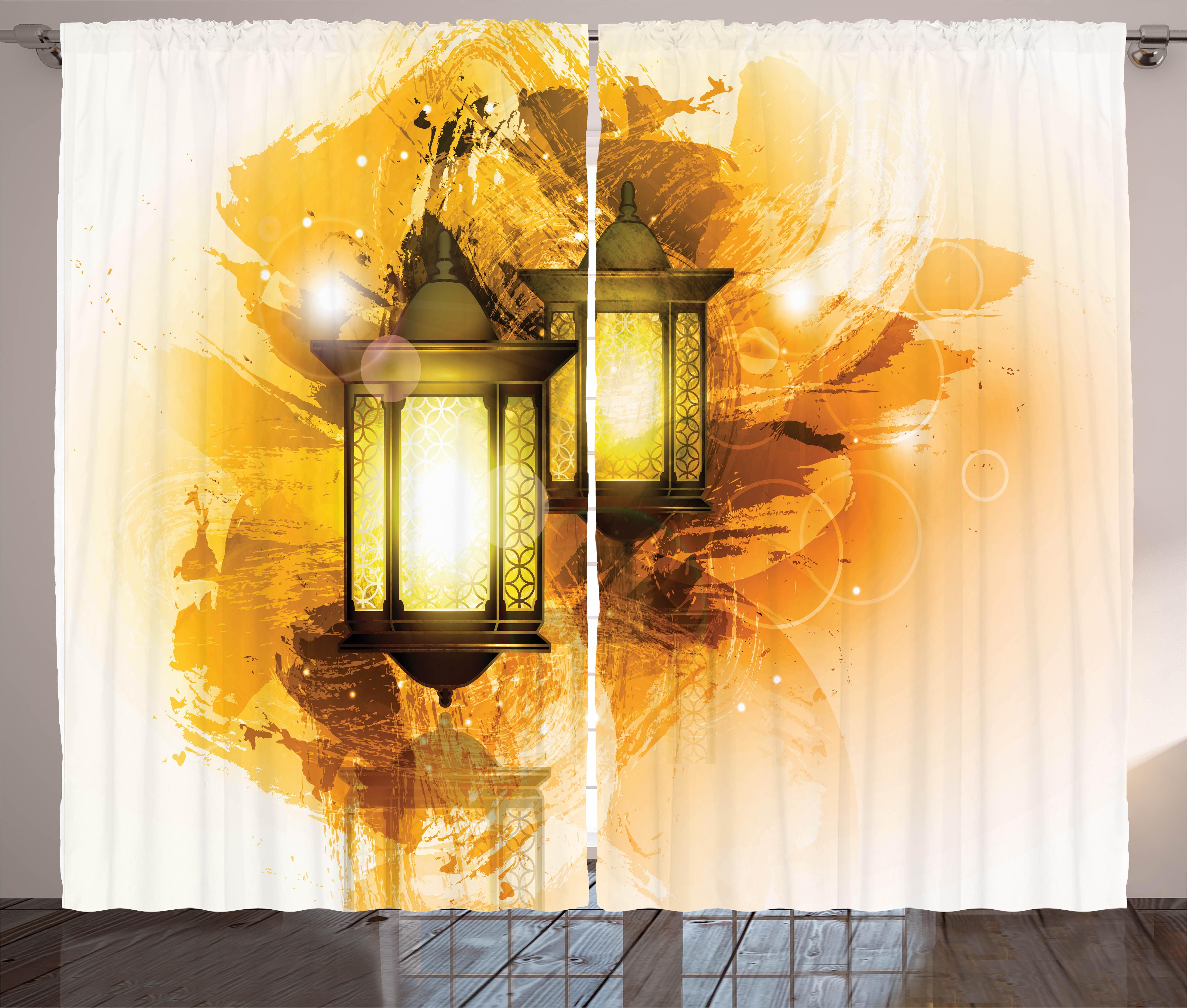 Arabesque Curtains 2 Panels Set, Urban Ramadan Kareem Lanterns Antique Islamic... by Kozmos