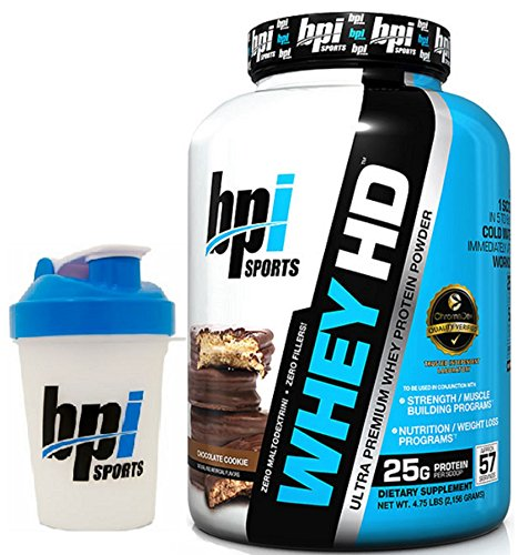 BPI Sports Whey-HD Ultra Premium Whey Protein Powder, 4.5 lbs with BONUS BPI Shaker Bottle (Chocolate Cookie)